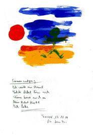 """""""Sonnenaufgang"""" / Torrox, den 27.11.2008 / """"Sprechbild"""" mit Text als Original Grafik mit Aquarellfarben, Bleistift und Text auf Papier / B 21,0 cm * H 29,7 cm / Werkverzeichnis 3.821"""