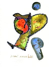 """""""7 Welten von Tim"""" / WVZ 946 / datiert 18.02..96 / Aquarell, Filzstift und Kreide auf Papier / b 24,0 cm * 32,0 cm"""