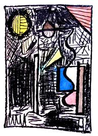 """""""o. T."""" WVZ 1.557 / datiert 1998 / Aquarell, Kohle und Ölkreide auf Papier / Maße b 30,0 cm * h 40,0 cm"""