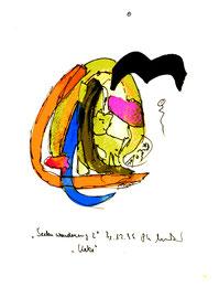 """""""Seelenwanderung 2"""" - Katze - 31.12.1995, Werkverzeichnis 887, Filzstift und Aquarell auf Papier, b 18,0 cm * 24,0 cm"""