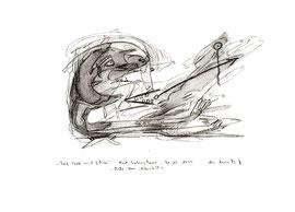 """""""Traf Seele mit Schrei"""" / WVZ 2.001 / datiert 31.03.1999 / Asche, Wein und Bleistift auf Papier / Maße b 21,0 cm * h 29,7 cm"""
