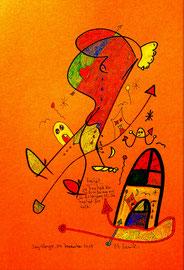 """""""Freiheit"""" / Sayalonga, 04. Dezember 2015 """"Sprechbild"""" mit Text. Original Grafik. Zeichnung mit Tuschen, Farbstiften, Kreiden und Text auf Papier. B 21,0 cm * H 29,7 cm Werkverzeichnis 4202"""