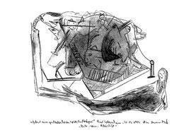 """""""Geburt eines geschlechtslosen Spitzhutträgers"""" / WVZ 2.002 / datiert 31.03.1999 / Asche, Wein und Bleistift auf Papier / Maße b 21,0 cm * h 29,7 cm"""