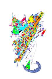 """""""Spreewald"""" / WVZ 1.008 / datiert 08.07.96 / Aquarell und Filzstift auf Papier / Größe b 30,0 cm * 40,0 cm"""