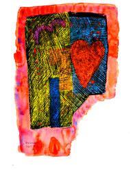 """""""Herzkammer"""" / Serie v. 13 Arbeiten / hier 10/13 WVZ 3.759 / datiert 2005 / Tinte, Kreide und Aquarell auf Papier / b 30,0 cm * h 42,0 cm"""