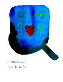 """""""Weltgriff unten"""" / WVZ 3.671 / Datiert 2004 / Aquarell und Tusche auf Papier / Maße b 30,0 cm * h 42,0 cm"""