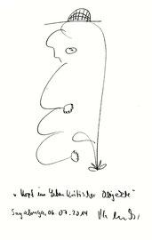 """""""Kopf im Leben kritischer Objekte"""" Sayalonga, 06.07.2014 Bleistiftzeichnung auf Papier. b 24,0 cm * h 32 cm. Werkverzeichnis 4196"""