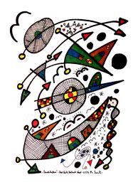 """""""Landschaftern"""" """"Nach links fliehende Vögel"""" Gestringen, den 06.11.93 Werkverzeichnis 367 Textilfarbe auf Aquarellpapier b 30,0 cm * h 40,0 cm"""