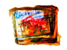 """""""Blutbild I"""" Erstes Bild, gefaltet, gleichzeitig Einband, einer Serie von drei Blutbildern / Originalgrafik / -malerei. mit diversen Farben, Kreiden und Blut auf Papier / Größe: b 70 cm * h 50 cm / 15.12.2010 / Werkverzeichnis 3.858"""