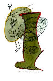 """""""Sie werden kommen"""", Werkverzeichnis 964 / datiert Südtirol - Males 30.03.1996 / Text mit farbiger Zeichnung auf Papier / Größe b 21,0 cm * 29,7 cm"""