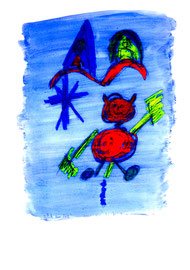 """Ich im All"" / Serie v. 13 Arbeiten / hier 7/13 WVZ 3.756 / datiert 2005 / Tinte, Kreide, Bleistift, Aquarell auf Papier / b 30,0 cm * h 42,0 cm"
