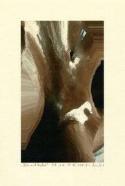 """""""Akt mit Nabel"""" / WVZ 3.611 / datiert 18.08.2003 / Am PC bearbeitetes Foto als Tintenstrahldruck auf Papier / Maße b 21,0 cm * h 29,7 cm"""