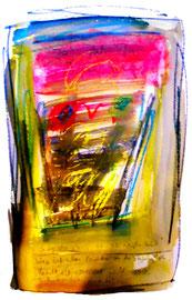 """""""Ja, jah, ja - dieser Weg"""" / Sayalonga, 15.12.10 / Originalgrafik, -malerei als Sprechbild mit Aquarell, Kreide und Text auf Papier / Größe: b 35,0 cm * h 50,0 cm / Werkverzeichnis 3.862"""