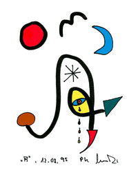 """""""A"""", Werkverzeichnis 474, 12.03.1995, farbige und schwarze Textilfarbenfilzstifte auf Papier, Größe b 10,6 cm * h 14,8 cm"""