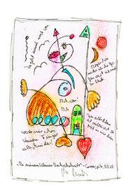 """""""In meinem kleinen Drehabschnitt"""" / Werkverzeichnis 4.253 / datiert, Carraspite, 5.5.17 Tintenstrahldruck, Textilfarbe und Text auf Papier Maße 21,0 cm * h 29,7 cm"""