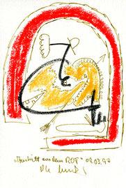 """Austritt aus dem Rot"" / Werkverzeichnis 1.301 / datiert 09.03.97 / Kreide, Filzstift und z. T. Kugelschreiber auf Papier / Maße b 12,0 cm * h 18,0 cm"