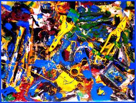 """""""o. T."""" / Materialmontage 2011 / U. a. Holzlatten, Pappe, Pinsel, Farben, Hölzer, Kauthacker, Metalle, Schwamm, Zange, Sand, Erde auf Pappe / Größe 79,0 cm * 59,5 cm / Werkverzeichnis 4.078"""