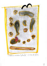 """""""Entflohener, verletzter Gedanke"""" /  WVZ 3.210 / datiert 23.10.00 / Filzstift, Verletzung und Bleistift auf Papier / Maße b 21,0 cm * h 29,7 cm"""