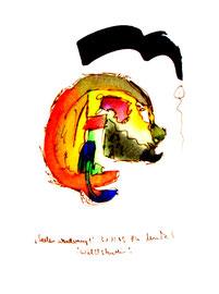 """""""Seelenwanderung 1"""" - Wildschwein - 31.12.1995, Werkverzeichnis 886, (verkauft E. Fangmann), Filzstift und Aquarell auf Papier b 18,0 cm * 24,0 cm"""
