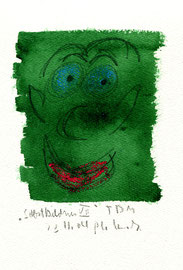 """""""Selbstbildnis VII"""" / WVZ 3.747 / datiert T. d. M., 23.11.04 / Tinte, Kreide und Bleistift auf Papier / Maße b 23,0 cm * h 31,0 cm"""