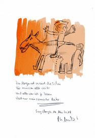 """""""Spanischer Reiter"""" / Sprechbild mit vorstehendem Text. Tusche, Aquarellfarben und Text auf Papier. B 21,0 cm * H 29,7 cm. Sayalonga, den 10. Mai 2014. Werkverzeichnis 4179."""