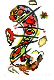 """""""o. T."""" II Werkverzeichnis 570, Aquarell und Kohle auf Büttenpapier aus 10/95, Größe b 10,0 cm * h 16,0 cm."""