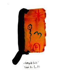 """""""Weltgriff links"""" / WVZ 3.670 / Datiert 2004 / Aquarell und Tusche auf Papier / Maße b 30,0 cm * h 42,0 cm"""