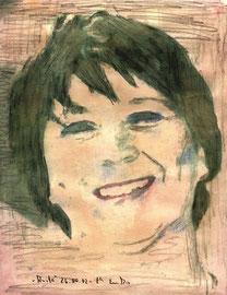 """""""Anita"""" / Werkverzeichnis 3.578 / datiert 26.04.02 / diverse Drucktechniken, Aquarell und Bleistift auf Papier / Maße b 21,7 cm * h 28,0 cm"""