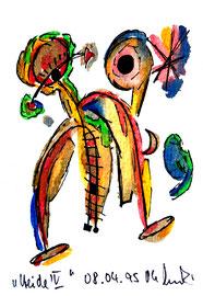 """Heide IV"""", Werkverzeichnis 520, vom 08.04.95, Filzstifte, Aquarellfarben und Textilfilzstifte auf Papier, Größe b 10,6 cm * h 16 cm"""