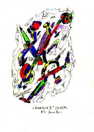"""""""Stadtbild III"""", WVZ 995 / datiert 17.05.1996 / Aquarell und Filzstift auf Papier / Größe b 18,0 cm * 24,0 cm"""