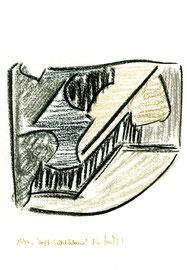 """""""Kopf-Selbstbildnis"""" / Werkverzeichnis 1.220 / datiert 1997 / verschiedenfarbige Kohlen auf Papier / Maße jeweils b 24,0 cm * h 32,0 cm"""