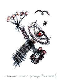 """""""Augengriff"""" Werkverzeichnis 1.723 / signiert Gestringen, 12.09.98 / Kugelschreiber und Buntstift auf Papier/ Maße 29,4 cm * 42,0 cm"""