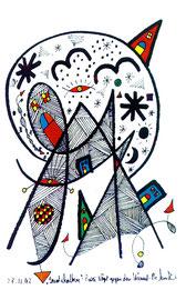 """Landschaftern"" - ""Zwei Vögel gegen den Himmel"" - Gestringen, den 28.11.93 Werkverzeichnis 370 Textilfarbe auf Aquarellpapier b 24,0 cm * h 32,0 cm Verkauft an unbekannt"