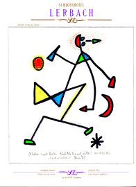 """""""Rechtes Auge"""" / """"Fliehen nach links - Rückblick nach rechts!"""" - """"Landschaftern"""" WVZ 466, vom 04.01.1995, Textilfarbe und Kreide auf Hotelblock, Größe b 21,0 cm * h 29,7 cm"""