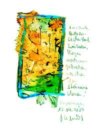 """""""Für Anita"""" / Andalusisches Land / Zwei Seelen fliegen noch ungebrochen zwischen den steinernen Vasen. Sayalonga, den 12.04.2007 / Sprechbild mit Text / Original Grafik / Ölkreide, Bleistift, Text auf Papier / B 14,7 cm * H 21,0 cm / WVZ 3.785"""