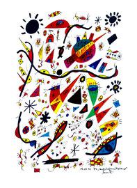 """""""Landschaftern"""" - Mallorca 1 - verkauft an unbek. Mallorca, den 19.07.1993 Werkverzeichnis 358 Textilfarbe auf Aquarellpapier b 30,0 cm * h 40,0 cm"""