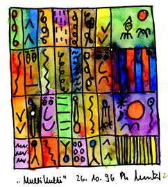 """Malerei """"Multikulti"""" Werkverzeichnis 1.064. Datiert 26.10.1996 Aquarell und Filzstift auf Wasserzeichenpapier. Größe b 21,0 cm * h 29,7 cm"""