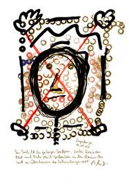 """""""Irrlicht"""" / Sayalonga, 10.05.2014 """"Sprechbild"""" mit vorstehendem Text. Original Grafik mit Tusche, Aquarell, Nikotin, Bleistift, Text auf Papier. B 21,0 cm * H 29,7 cm Werkverzeichnis 4178"""