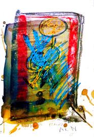"""""""Blutbild III"""" / """"Ich schenk uns Blut und Paraffin"""" / Originalgrafik, -malerei als Sprechbild mit Aquarell, Kreiden, Blut und Text auf Papier / Größe: b 35,0 cm * h 50,0 cm / 15.12.10 / WVZ 3.864"""