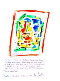"""""""Gedanken beim Weißwein"""" / Sayalonga, 15. Januar 2009 / Sprechbild mit Text als Originalgrafik mit Ölkreide, Aquarell und Bleistifttext auf 200-g-Papier / Größe b 35,0 cm * h 50,0 cm / Werkverzeichnis Nachträge"""