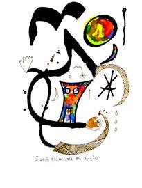 """""""o. T."""" I Werkverzeichnis 825, vom 03.11.95, Tusche, Aquarellfarben und Textilfilzstifte auf Papier, Größe Arbeit I = b 18 cm * h 24 cm"""