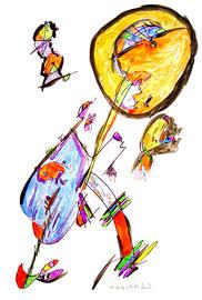 """""""o. T."""" / WVZ 997 / datiert 05.06.96 / Tusche, Aquarell und Filzstift auf Papier / Größe b 48,0 cm * 68,4 cm"""