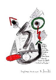 """""""Suchen"""" - Wenn gleich wir Wagnisse wollen, die Seele im Zelt zu Hause lassen, suchen... Sayalonga, 04.07.2015 """"Sprechbild"""" mit Text. Original Grafik. Asche, Tusche, Bleistift, Kreide und Text auf Papier. B 24,0 cm * H 32,0 cm, Werkverzeichnis 4212."""