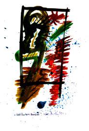 """""""Steht hinterm Quadrat"""" / Serie v. 13 Arbeiten / hier 3/13 WVZ 3.752 / datiert 2005 / Ölkreide und Aquarell auf Papier / b 30,0 cm * h 42,0 cm"""