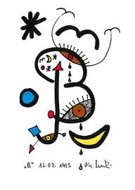 """""""B"""", Werkverzeichnis 475, 26.03.1995, farbige und schwarze Textilfarbenfilzstifte auf Papier, Größe b 10,6 cm * h 14,8 cm"""