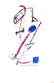 """""""o. T. (Gedanken zu Begegnungen in Lübben)"""" / WVZ 1.006 / datiert 06.07.1996 / Filzstift und diverse Farben auf Papier / Größe b 30,0 cm * 40,0 cm"""