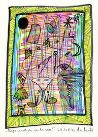 """""""Mags verwehren, wer da will!""""/  Werkverzeichnis 3.587 / datiert 12.05.2002 / Farbzeichnung mit Filzstift und Neonfarbe auf Papier / Maße b 21,0 cm * h 29,7 cm"""