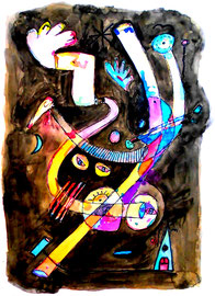 """Malerei """"o. T."""" Werkverzeichnis 894. Datiert 1996. Aquarell und Textilfarbe auf Papier. Größe b 50,2 cm * h 70,5 cm"""