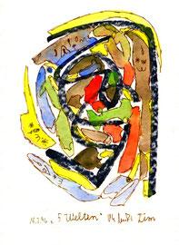 """""""5 Welten von Tim"""" / WVZ 945 / datiert 18.02..96 / Aquarell, Filzstift und Kreide auf Papier / b 24,0 cm * 32,0 cm"""