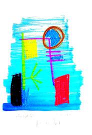 """""""Einfach leben II"""" / WVZ 3.689 b / datiert Torre del Mar, 15.02.04 / Aquarell, Tusche und Kreide auf Papier / Maße b 21,0 cm * h 29,7 cm"""